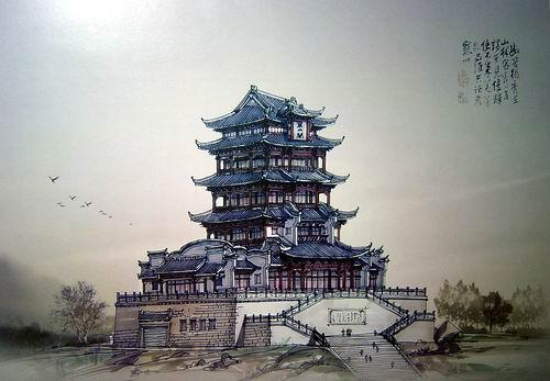 武汉大学行政楼手绘